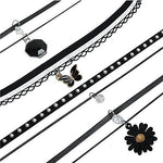 BodyJ4You Choker Necklace Black Lace Velvet Collar Pendant Flower Set 12 Pieces - BodyJ4you