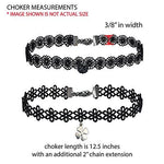 BodyJ4You Choker Necklace Black Layered Braided Charm Collar Girls Set 4 Pieces - BodyJ4you