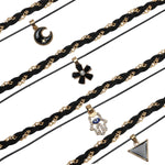 BodyJ4You Choker Necklace Black Layered Braided Flower Moon Triangle 4 Pieces - BodyJ4you
