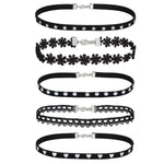 BodyJ4You Choker Necklace Black Velvet Lace Tattoo Collar Woman Girls 5 Pieces - BodyJ4you
