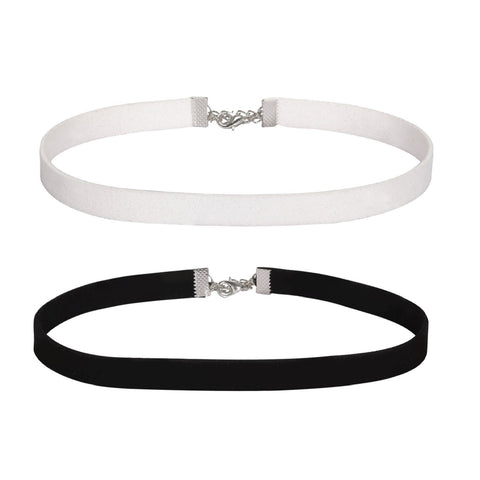 BodyJ4You Choker Necklace Black White Velvet Ribbon Gothic Collar Girl 2 Pieces - BodyJ4you