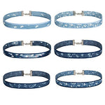 BodyJ4You Choker Necklace Blue Jeans Flower Butterfly Denim Collar 6 Pieces - BodyJ4you
