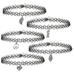 BodyJ4You Choker Necklace Charm Tattoo Stretch Gothic Collar Pendant 5 Pieces - BodyJ4you