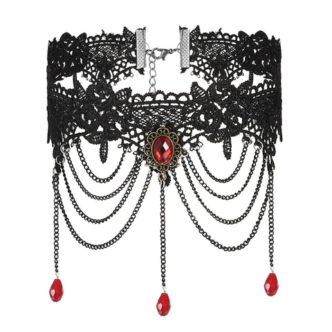 BodyJ4You Choker Necklace Empress Gothic Lace Red Collar Brooch Pendant Dangle - BodyJ4you