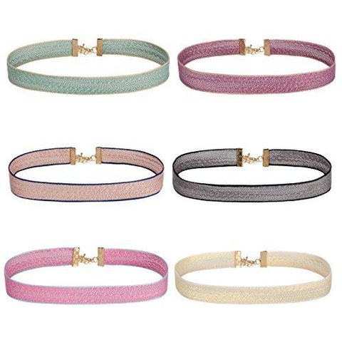 BodyJ4You Choker Necklace Pastel Colors Ribbon Adjustable Collar Women 6 Pieces - BodyJ4you