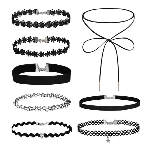 BodyJ4You Choker Necklace Velvet Classic Lace Collar Girls Tattoo Set 8 Pieces - BodyJ4you