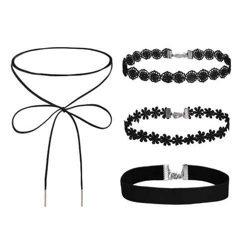 BodyJ4You Choker Necklace Velvet Flower Gothic Collar Girls Black 4 Pieces - BodyJ4you