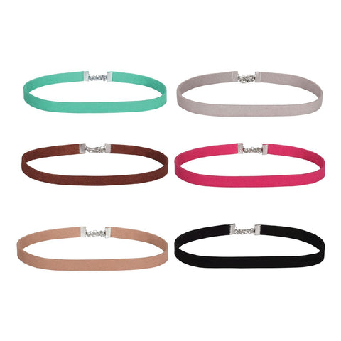BodyJ4You Choker Necklace Velvet Ribbon Gothic Collar Mix Color Girls 6 Pieces - BodyJ4you