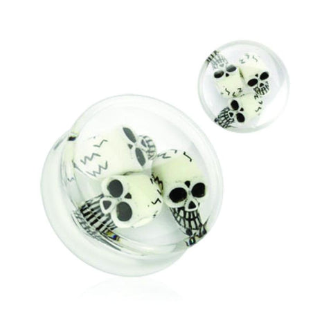 BodyJ4You Clear Acrylic Spooky Skulls Saddle Plugs 6G-14mm (2 Pieces) - BodyJ4you