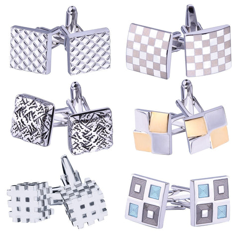 BodyJ4You Cufflink 6 Pairs Square Stylish Modern Men's Cuff Links Elegant Gift Box - BodyJ4you