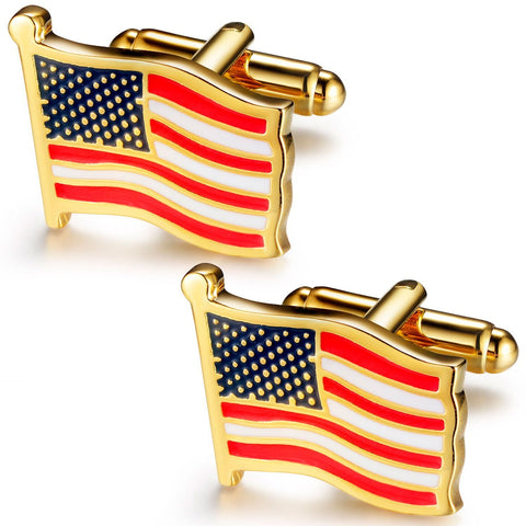 BodyJ4You Cufflinks Waving American Stars Stripes Flag Patriot Men Pair Fashion Jewelry Gift Box - BodyJ4you