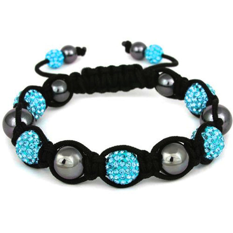BodyJ4You Disco Balls Bracelet 7 Aqua Beads Pave Crystals Adjustable Wrist Iced Out Jewelry - BodyJ4you