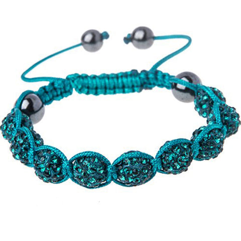 BodyJ4You Disco Balls Bracelet 9 Aqua Beads Pave Crystals Adjustable Wrist Iced Out Jewelry - BodyJ4you