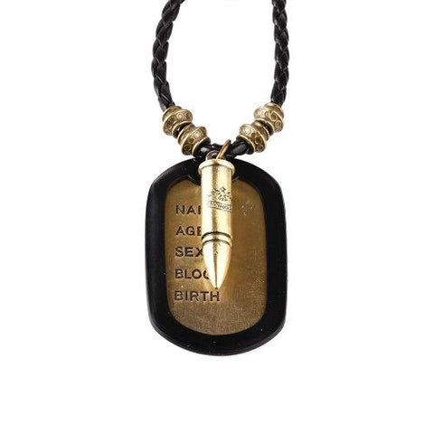 BodyJ4You Dog Tag Necklace Mens Chain with Vintage Bullet Army Name Dog Tag Necklace - BodyJ4you