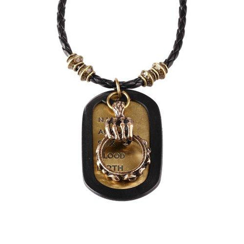 BodyJ4You Dog Tag Necklace Mens Chain with Vintage Skull Ring Army Name Dog Tag Necklace - BodyJ4you