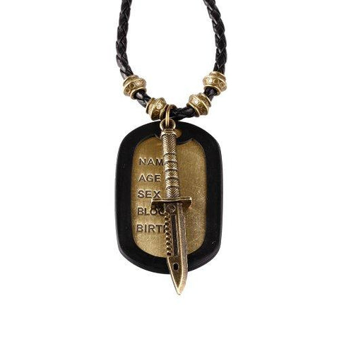 BodyJ4You Dog Tag Necklace Mens Chain with Vintage Sword Army Name Dog Tag Necklace - BodyJ4you