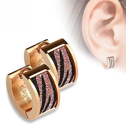 BodyJ4You Earrings Huggie Hoop Rose Goldtone Zebra Sand Sparkle Fashion Jewelry - BodyJ4you