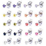 BodyJ4You Earrings Set Stud Colored Cubic Zirconia Pink Blue Green Steel 4mm Fashion Jewelry 3 Pieces - BodyJ4you