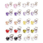BodyJ4You Earrings Set Stud Colored Cubic Zirconia Pink Blue Green Steel 6mm Fashion Jewelry 3 Pieces - BodyJ4you