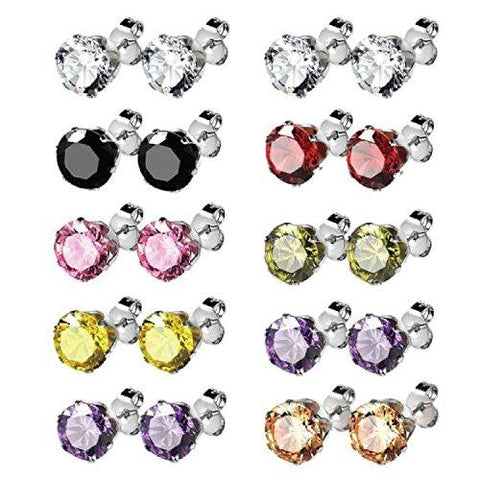 BodyJ4You Earrings Set Stud Colored Cubic Zirconia Pink Blue Green Steel 7mm Fashion Jewelry 3 Pieces - BodyJ4you