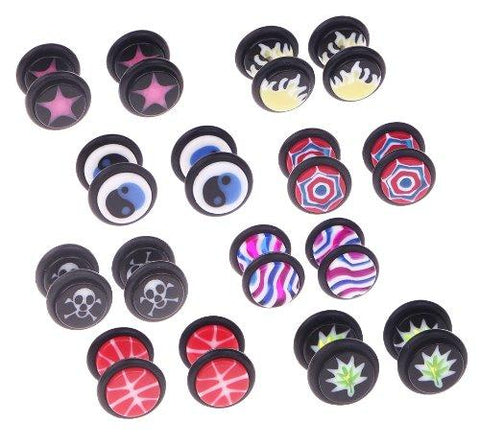 BodyJ4You Fake Clip On Spring Hoop Non Acrylic Logo Print Earrings 16G Studs Cheater Illusion Jewelry 4 Pieces - BodyJ4you