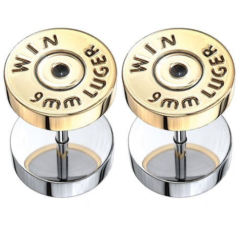 BodyJ4You Fake Ear Plugs Bullet Goldtone Steel Stud Earrings Cheater Faux Gauges 00G Look Unisex - BodyJ4you