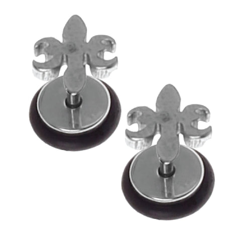 BodyJ4You Fake Earrings Steel Fleur De Lis Cheater Illusion Jewelry - BodyJ4you