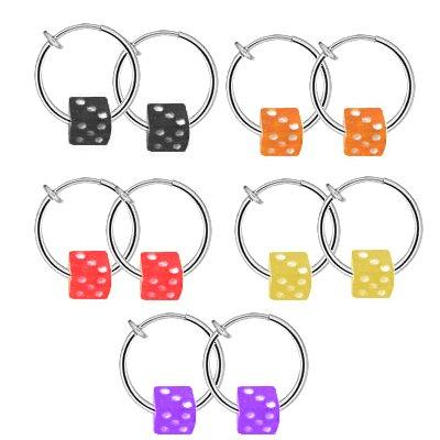 BodyJ4You Fake Hoops Clips Non Pierced Illusion Dice Nose Belly Lip Earrings Eyebrow Illusion Jewelry - BodyJ4you