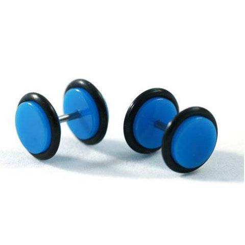 BodyJ4You Fake Plugs Blue Acrylic Gauges 16G Studs Cheater Illusion Jewelry - BodyJ4you