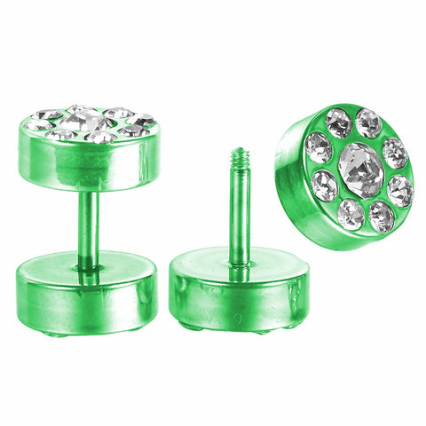 BodyJ4You Fake Plugs CZ Green Titanium Anodized 16G Studs Fake Gauges Illusion Jewelry - BodyJ4you