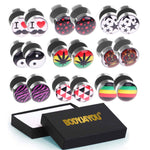 BodyJ4You Fake Plugs Earrings Rasta Yin Yang Skull Stars Stainless Steel Gift Box 18 Pieces - BodyJ4you