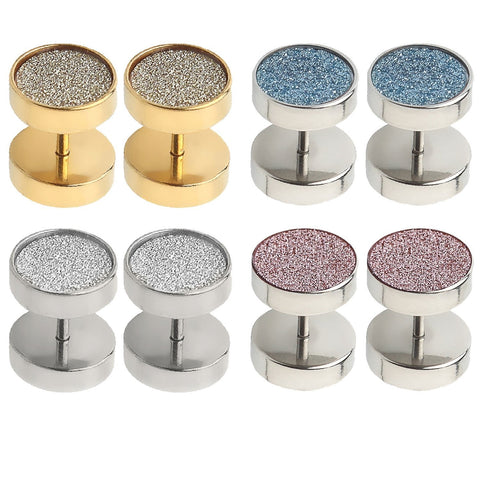 BodyJ4You Fake Plugs Glitter Piercing Plug 00G Gauge Stainless Steel Cheater Stud Earring 8 Pieces - BodyJ4you