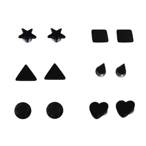 BodyJ4You Fake Plugs Magnetic Black Shapes Kit Illusion Cheater Jewelry 12 Pieces - BodyJ4you