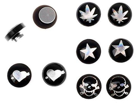 BodyJ4You Fake Plugs Magnetic Metal Skull Rasta Heart Kit Gauges Cheater Illusion Jewelry 8 Pieces - BodyJ4you