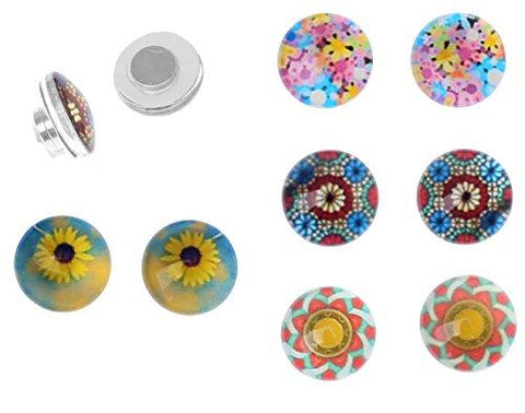BodyJ4You Fake Plugs Magnetic Metal Sunflower Ornament Kit Gauges Cheater Illusion Jewelry 8 Pieces - BodyJ4you