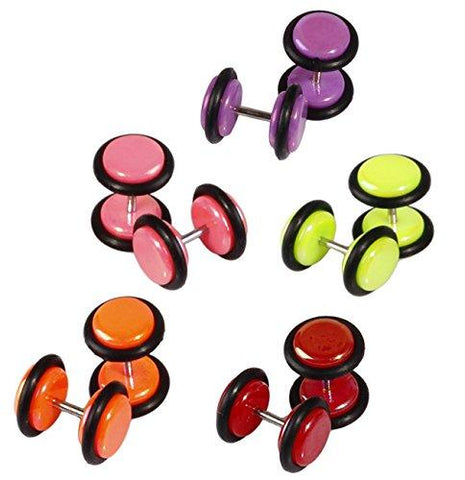BodyJ4You Fake Plugs Multi-Color Radiance 16G Gauges Illusion Cheater Jewelry 10 Pieces - BodyJ4you