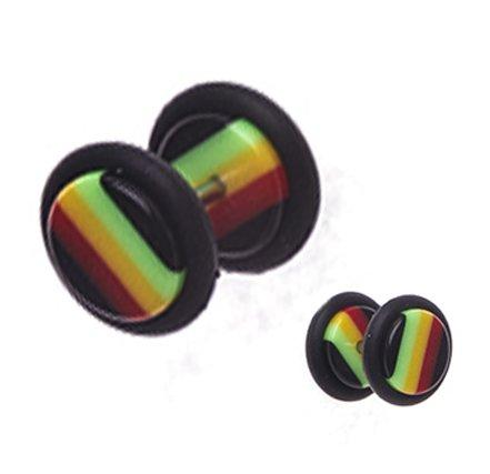 BodyJ4You Fake Plugs Rasta Flag Acrylic Gauges 16G Cheater Illusion Jewelry - BodyJ4you