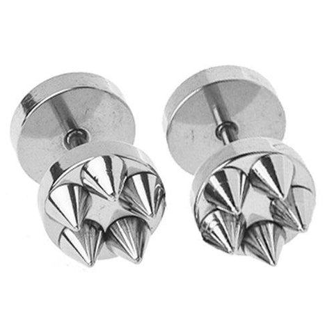 BodyJ4You Fake Plugs Spikes Stainless Steel Earrings 16G Studs Steel Gauges Cheater Jewelry - BodyJ4you