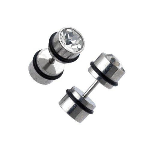 BodyJ4You Fake Plugs Stainless Steel 16G Studs Gauges Cheater Illusion Jewelry - BodyJ4you