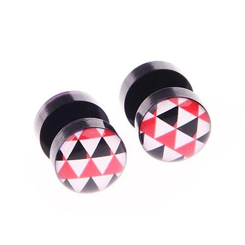 BodyJ4You Fake Plugs Triangles Logo Gauge Black Acrylic 16G 00G Gauges Cheater Jewelry - BodyJ4you