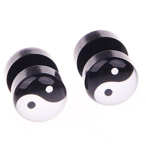BodyJ4You Fake Plugs Yin Yang Logo Gauges Black Acrylic 16G Studs Cheater Jewelry - BodyJ4you