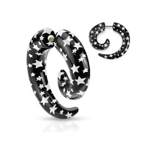 BodyJ4You Fake Spiral Stars Taper Acrylic Earrings 16G Studs Wild Tribe Faux Taper Cheater Jewelry - BodyJ4you