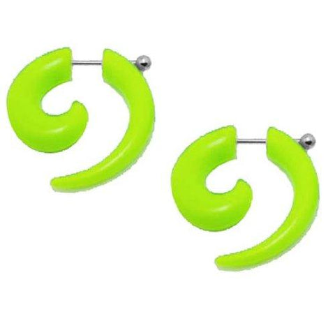 BodyJ4You Fake Spiral Taper Neon Green Acrylic Earrings 16G Studs Curved Cheater Illusion Jewelry - BodyJ4you