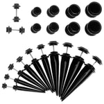 BodyJ4You Fake Taper Kit Black Taper Plug 2G-00G Stretching Set Illusion Jewelry - BodyJ4you