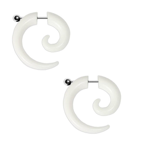 BodyJ4You Fake Taper Spiral White Acrylic Earrings 16G Studs Cheater Illsuion Jewelry - BodyJ4you