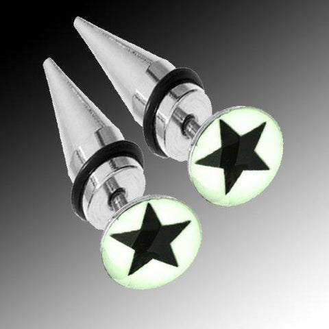 BodyJ4You Fake Tapers Glow in the Dark Star Earrings 16G Studs Cheater Cheater Jewelry - BodyJ4you