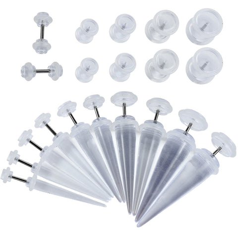 BodyJ4You Fake Tapers Plugs Kit Clear 2G-00G Cheater Illusion Jewelry 20 Pieces - BodyJ4you