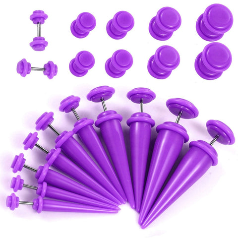 BodyJ4You Fake Tapers Plugs Kit Purple 2G-00G Cheater Illusion Jewelry 20 Pieces - BodyJ4you
