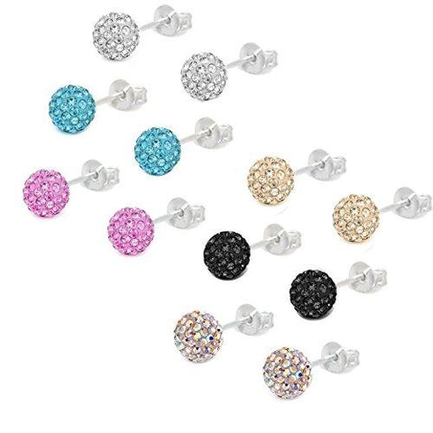 BodyJ4You Fashion Earring Lot of 6 Pairs 6mm Assorted Color Crystal Ball Studs - BodyJ4you