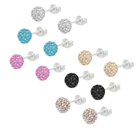 BodyJ4You Fashion Earring Lot of 6 Pairs 8mm Assorted Color Crystal Ball Studs - BodyJ4you